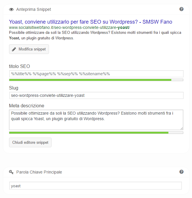 Social Media Siti Web a Fano vi consiglia Yoast per WordPress