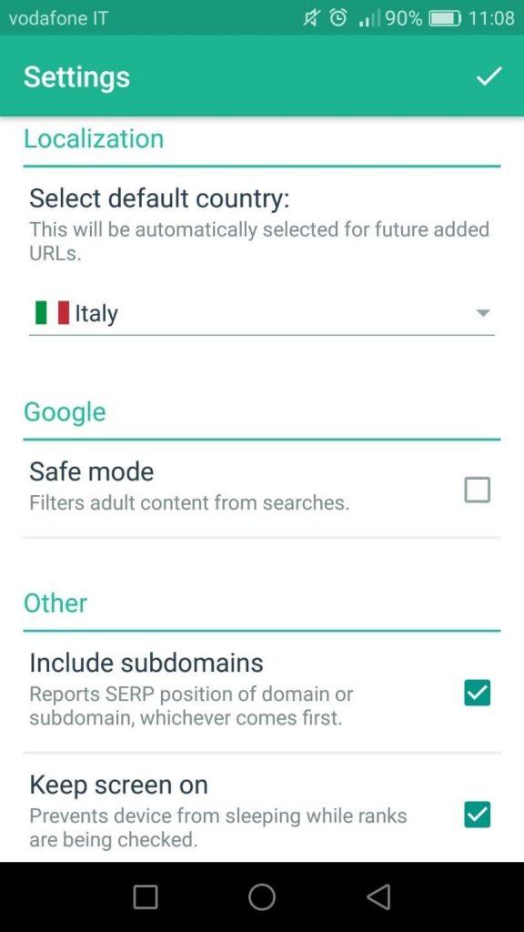 Impostazioni dell'App gratuita SERPmojo