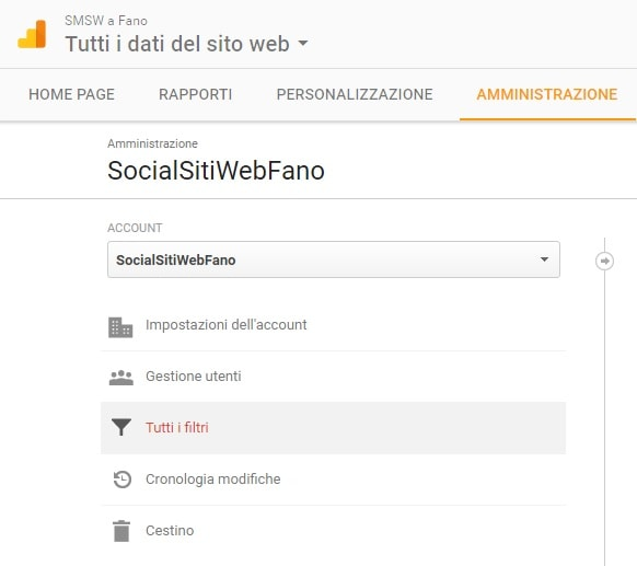 Applicare filtri su Google Analytics