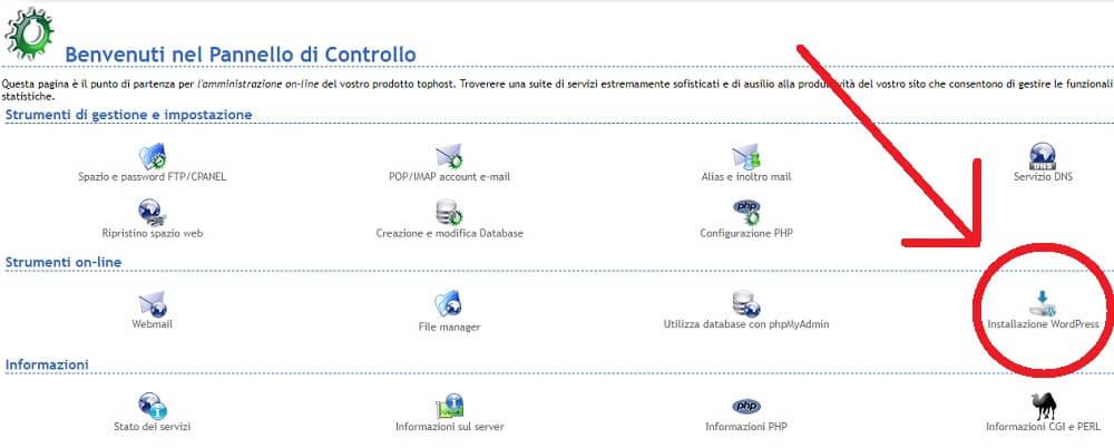 installare-wordpress-su-tophost