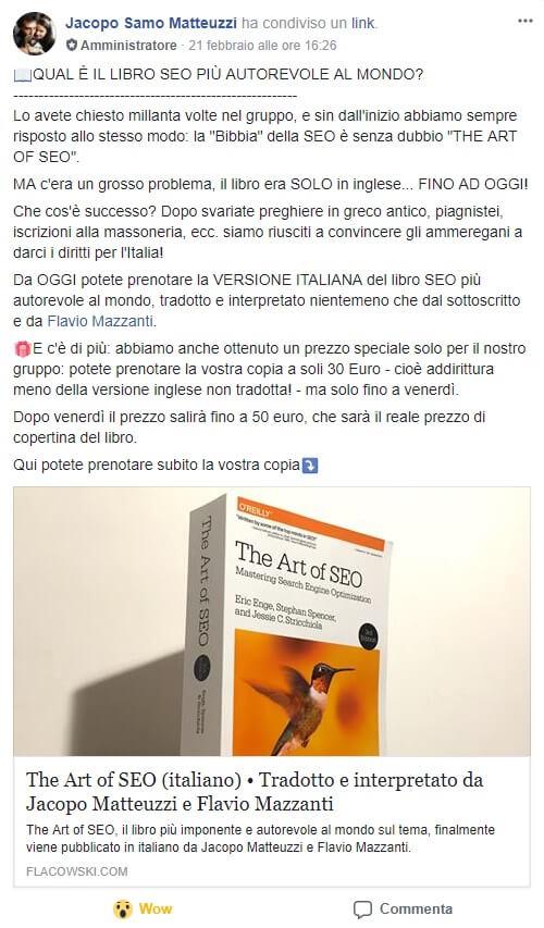 Annuncio di Jacopo Matteuzzi della traduzione in lingua italiana del libro The art of SEO