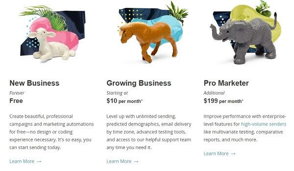 Prezzi e specifiche del servizio premium di Mailchimp