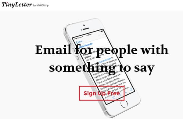 Tinyletter, uno strumento gratuito per l'invio massivo di email.