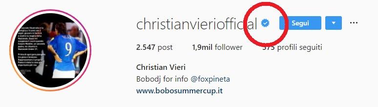 Ecco il badge di un profilo Instagram verificato correttamente