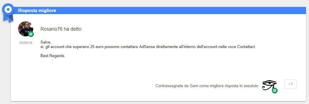 Come contattare l'assistenza ufficiale di ADSense