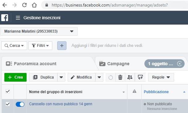 Gestione inserzioni dal pannello Business Manager di Facebook