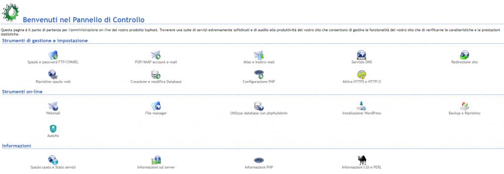 Pannello di controllo di un web hosting
